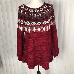 Style & Co Great Outdoors Red Amore Combo Sweater
